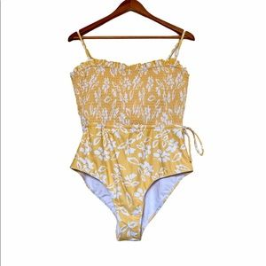 NWOT Floral yellow and white one piece swim suit